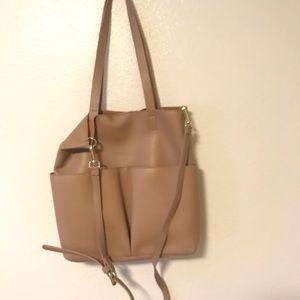 Nude leather messenger bag